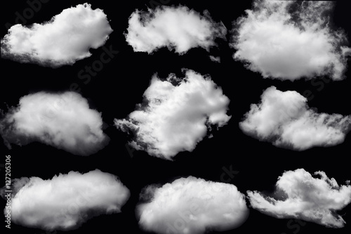 Garden Poster Heaven Set of clouds white on isolated elements black background.