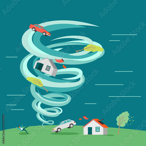 Fotografie, Obraz Natural Disaster Flat Design Vector Illustration