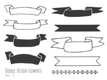 Collection Of Hand Drawn Doodle Design Elements Isolated On White Background. Set Of Handdrawn Borders, Ribbons, Banners. Abstract Hand Black Sketched Shapes. Vector Illustration.