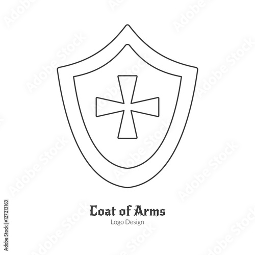 Medieval Heraldic Shield With Insignia Single Logo In Modern Thin Line Style Isolated On White