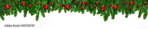 Foto-Doppelrollo - Weihnachten Banner Hintergrund mit Tannenzweigen und Christbaumkugeln (von eyetronic)