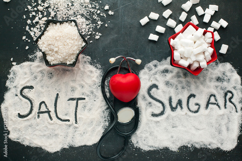 Sugar and salt brings harm to the heart, concept of healthy lifestyle without sugar and salt Fototapete