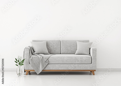 Fotografia, Obraz  Interior with sofa, plants and plaid on empty white wall background