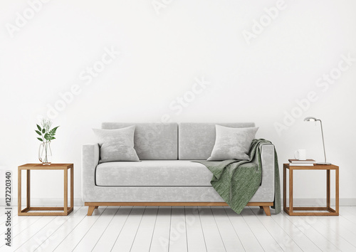 Interior with sofa, plants and plaid on empty white wall background Canvas Print