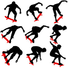 Set Ilhouettes A Skateboarder Performs Jumping. Vector Illustration