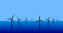 Vector Image Of An Offshore Wind Turbine Farm