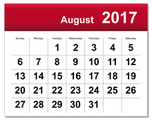 EPS10 File. August 2017 Calendar. The EPS File Includes The Vers