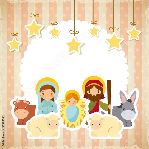 Stampa su Tela holy family manger scene with animals and decorative stars hanging
