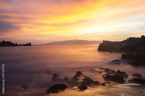 Canvas Prints Cuban Red Tenerife - Playa de La Arena at sunset