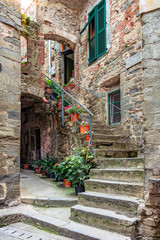 Fototapeta Alley in Italian old town Liguria Italy