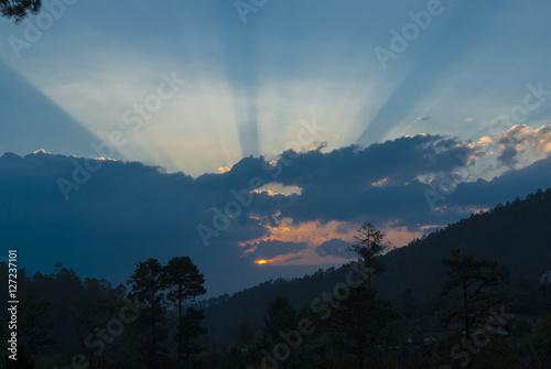 Fototapeta beautiful ray of light sunrise in Jalapa. Guatemala obraz na płótnie