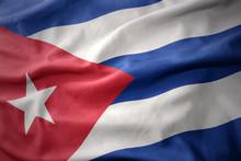 Waving Colorful Flag Of Cuba.