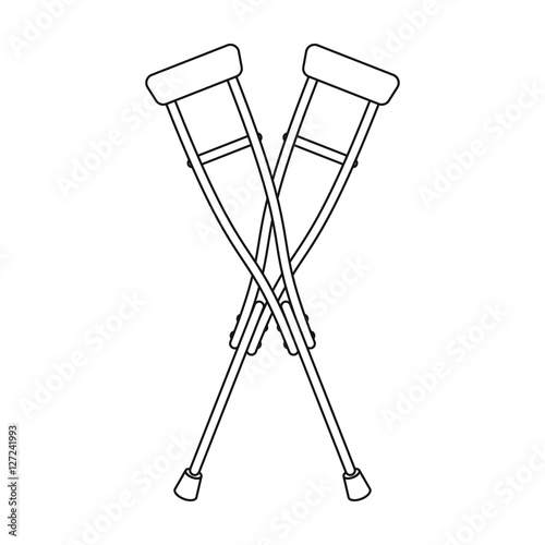 Crutches icon in outline style isolated on white background Tapéta, Fotótapéta