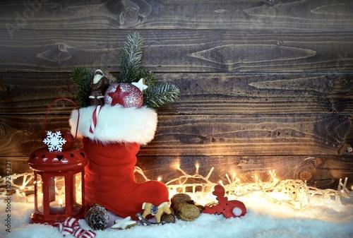 Foto-Doppelrollo - gefüllter Nikolausstiefel - Grußkarte (von S.H.exclusiv)