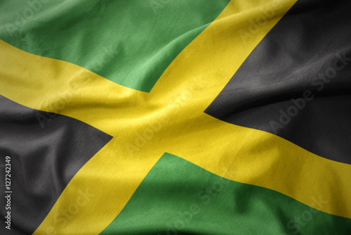 waving colorful flag of jamaica. Poster Mural XXL