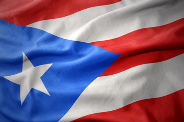 waving colorful flag of puerto rico.