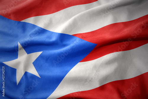 Poster Texas waving colorful flag of puerto rico.