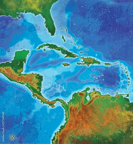 Slika na platnu color caribbean islands map