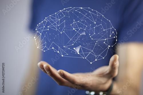 Obraz man hand  brain - fototapety do salonu