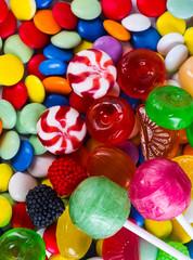 Fototapeta na wymiar Closeup of colorful candies as texture