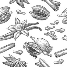 Seamless Pattern Set Of Spices.