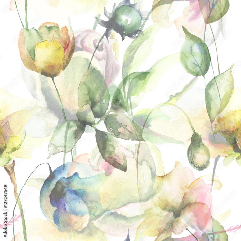 Bezszwowy wzór z oryginalnymi lato kwiatami