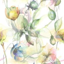 Seamless Pattern With Original Summer Flowers