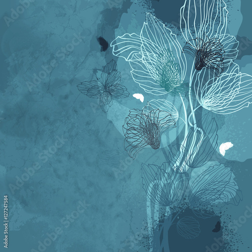Foto op Canvas Vlinders in Grunge Floral Background