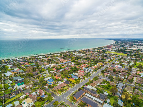 Fotografie, Obraz  Aerial view of Frankston suburb nested on the Mornington Peninsula