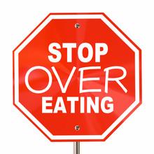 Stop Over Eating Sign End Obesity Diet Cut Calories 3d Illustrat