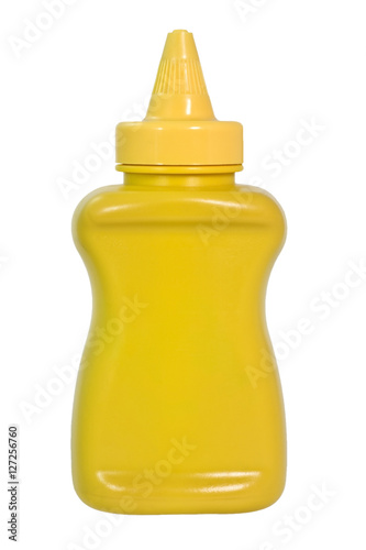 Photo  Yellow mustard squeeze bottle container with no label