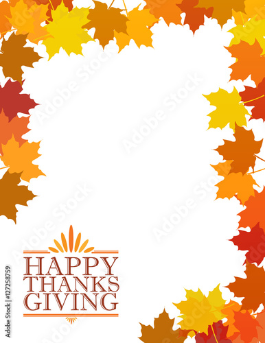 Fényképezés  Happy thanksgiving sign illustration over leaves