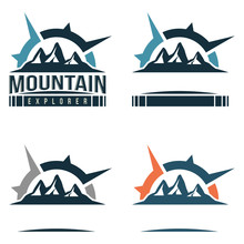 Great Mountain Travel With Compass Sign Logo Template