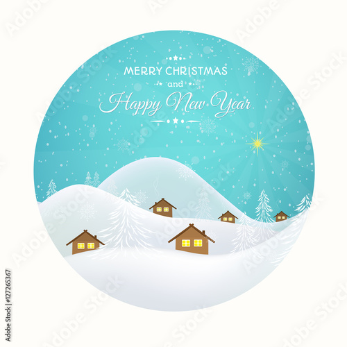 new year christmas greeting card template round cutout winter snow
