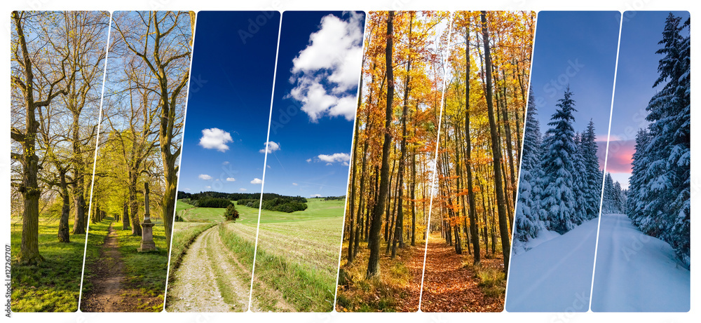 Fototapeta Four season collage from shots with roads in landscape