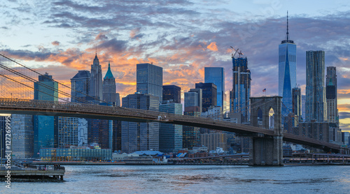View to Manhattan from Brooklyn Bridge Park at sunset