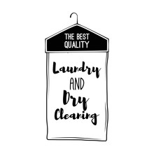 Dry Cleaning Label. Vector Illustration.