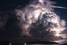 Thunderstorm Over Island At Night