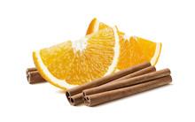 Orange Quarter Cinnamon Sticks Isolated On White Background