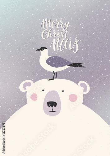 swiateczna-kartka-z-misiem-polarnym-i-ptakiem-na-glowie