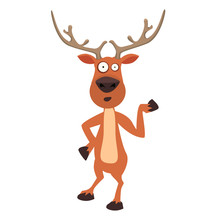 Cute Moose, Funny Cartoon Reindeer Character Showing With Hand.