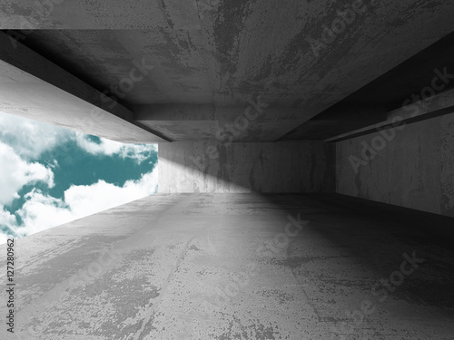 Fotografie, Obraz  Concrete room wall construction on cloudy sky background