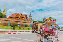 The Carriage In Front Of Wat Phra Tad Lampang Luang