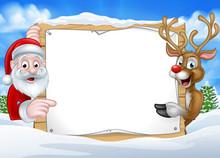 Santa And Reindeer Christmas Sign Background