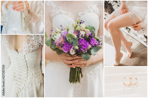 Wedding Collage Details Of Morning Of Young Bride Close Up Of