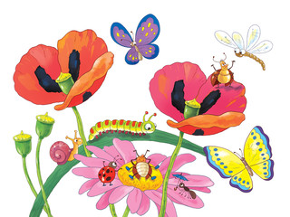 Cute flowers and insects. Coloring page. Greeting card
