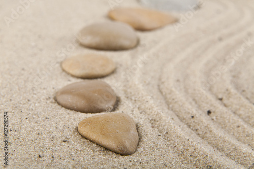 Acrylic Prints Stones in Sand background with stones and sand for meditation and relaxation to