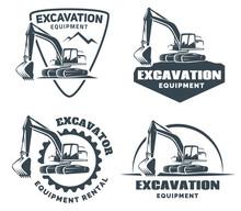Set Of Excavator Logos, Emblem...