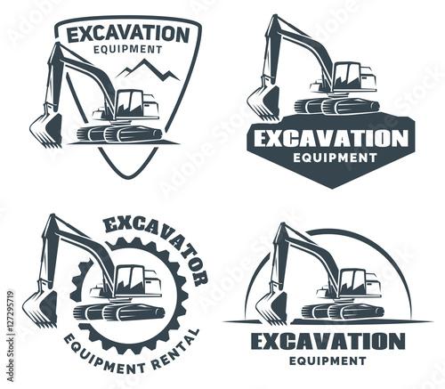 Fotografia Set of excavator logos, emblems and badges isolated on white background