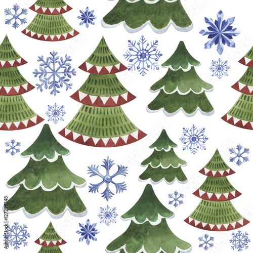 Stoffe zum Nähen Weihnachten Winter Urlaub Symbol in einem Aquarell Stil isoliert